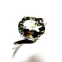 "Prasiolite ring, green quartz, green amethyst, green ring, solitaire ring,   s 6 3/4   ""Full Bloom"""