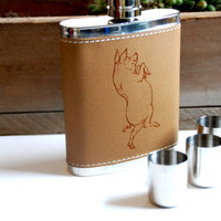 Laser Etched Leather Flask, PIG Design, Case W/ Stainless Steel Shot Glasses: Customizable for Groomsmen, Bridal Parties, Gifts
