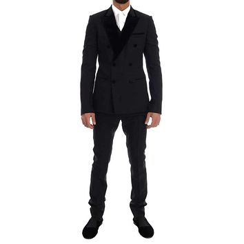 Dolce & Gabbana Black Wool Stretch Double Breasted Suit