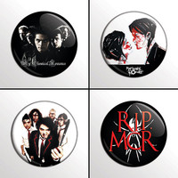"4-Piece MY CHEMICAL ROMANCE (Mcr Set #2) 1"" Pinback Band Buttons / Pins / Badges Set"