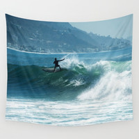 "Surfer Wall Tapestry, ""Surfing with a view"" Fabric wall art, blue, photography, ocean, surf, Pacific, waves, shore, Malibu, surfing, teal"