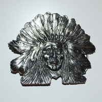 Vintage Silver Belt Buckle Indian Chief 1975 Belt Buckle Made by The Great American Buckle Company Chicago 1975