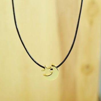 Crescent Star Necklace, Gold Plated Brass Pendant, Genuine Leather Cord, Everyday Wear, Perfect Gift, also in Rhodium Plated