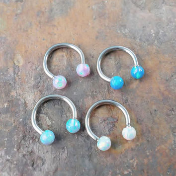Opal 316L Surgical Steel horseshoe 16g, 16 gauge cartilage, tragus, helix, lobe, rook, daith, snug barbell earring