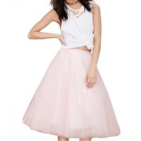 Multi Layer Mesh Tutu Skirt In Pink
