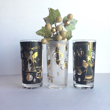 Mid Century Fred Press Holiday Highball Glasses, Vintage Fred Press Christmas Angel Juice Glasses