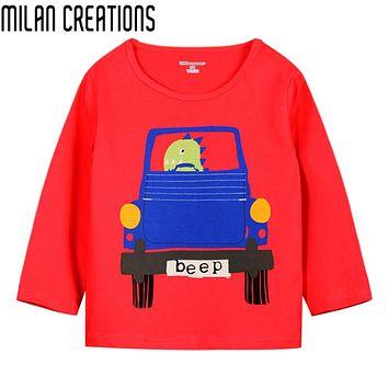 Boys T-shirt Kids Clothes Fashion Boys Tops Tees Children T shirts Car Print Baby Clothes Boys T shirt Long Sleeve