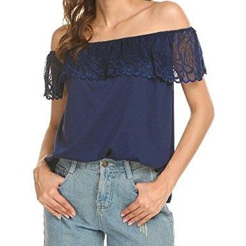 Pasttry Womens Off Shoulder Tops Lace Crochet Ruffles Solid Blouse Casual Short Sleeve Loose TShirt