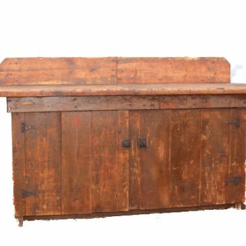 Antique Primitive Workbench, Rustic Decor, Distressed Wood Furniture