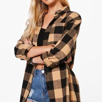Samantha Oversized Checked Shirt | Boohoo