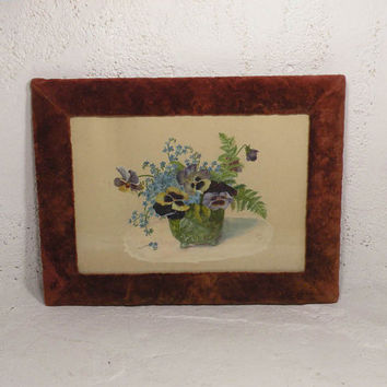 Antique pansy painting. Antique flower painting. French antique watercolour. Original French art. Original French floral painting
