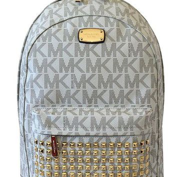 ICIKHI2 MICHAEL Michael Kors Large PRINTED MK STUDDED Jet Set Item Backpack VANILLA