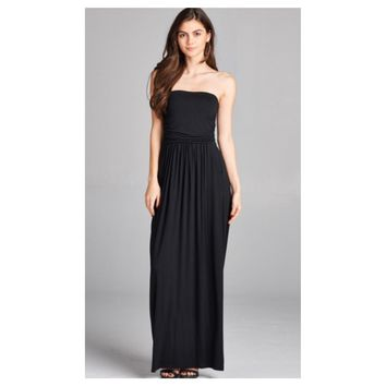 Adorable Strapless Buttery Soft Black Maxi Dress
