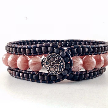 Handmade Beaded Leather Cuff, Sunstones and Sugar Skulls, Genuine Gemstone, Beaded, Leather, Jewelry