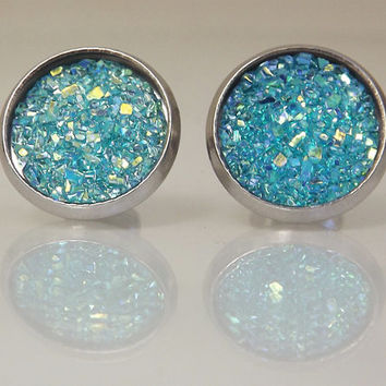 Turquoise Stud Earrings, Light Blue Faux Druzy Earrings, Glitter Earrings, Iridescent Earrings, Holiday Gift Ideas, Stocking Stuffers