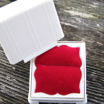 Vintage Ring Box, Charming Engagment Ring Presentation or Display, Red Velvet Interior, Circa 1940's