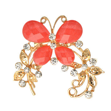 Crystal Rhinestone Gold Plated Chinese butterfly Brooch Pin