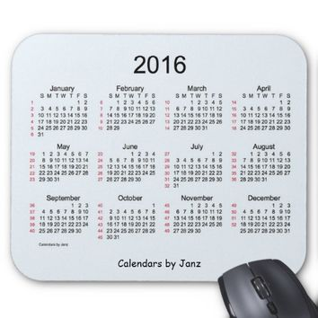 52 Week Calendar 2016 Alice Blue Mouse Pad