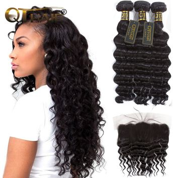 Loose Deep Wave Bundles With Closure Brazilian Hair Weave Bundles With Closure 4pc/lot Non-Remy Human Hair Bundles With Frontal