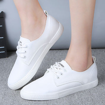 2016 New Leather Women Shoe Casual Leather Shoes For Women Flat Shoes Ladies Lacing Loafers Zapatos Mujer