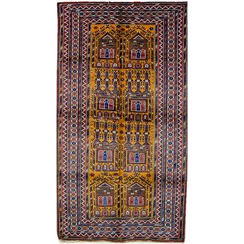 Oriental Turkmen-Style Tribal Pure Wool Rug, Yellow/Red