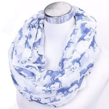 [16010] Infinity Scarf With Horse Print