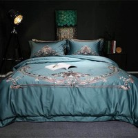Blue/White/Pink Luxury 100S Cotton Embroidery Bedding Set Duvet Cover Bed Linen Bed sheet Pillowcases King Queen Size 4PCS