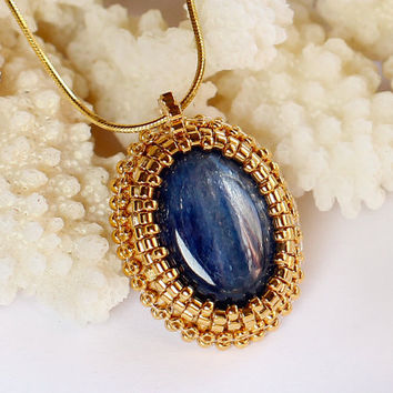 Gold Necklace with Natural Blue Kyanite. Embroidered Designer Bridal Jewelry.