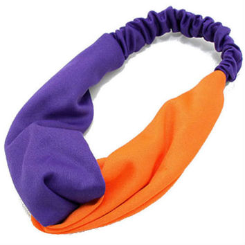 Knot Turban Headband for Women, Turban Head Wrap, Headband,Game Day, Twist, Head Wrap - Purple / Orange