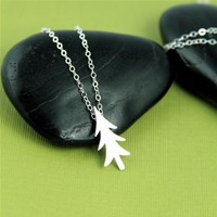 Silver Rustic Pine Tree Necklace