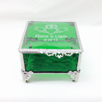 "Personalized Emerald Green Claddagh Stained Glass Ring Bearer Box 3x3"" Irish Wedding Gift"