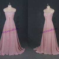 Long chiffon prom dresses with sweep train,simple sweetheart bridesmaid gowns,2014 cheap women dress for wedding party hot.