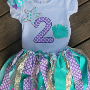 1st birthday outfit, 2nd birthday outfit,second birthday outfit,mermaid birthday,mermaid outfit,purple and turquoise,aqua tutu,birthday tutu