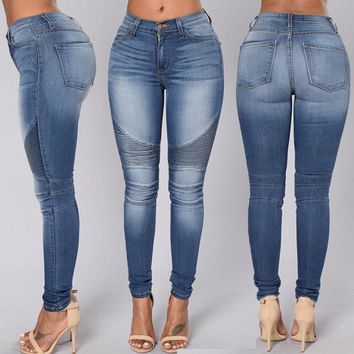 Sexy Women Skinny Stretchy High Waist Leggings Jeans Pencil Tight Trousers Jeans