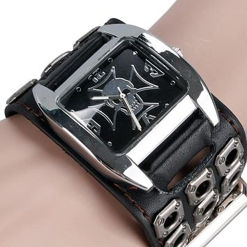 Gothic Style Watch Men Women Cool Metal Hollow Leather Strap Skull Quartz Watches Fashion Punk Trendy Cosplay Relogio