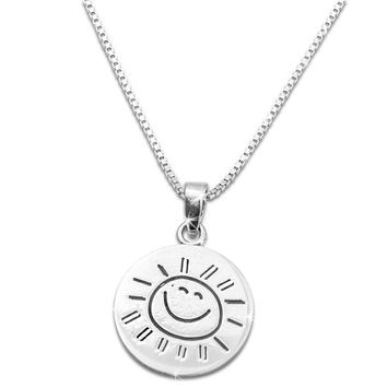 "Sterling Silver ""You are my Sunshine my only Sunshine"" Necklace Small (18"" chain included)"