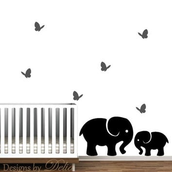 Nursery Wall Decal, Jungle Wall Art, Elephants with Butterflies