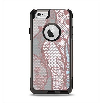 The Pink & Teal Lace Design Apple iPhone 6 Otterbox Commuter Case Skin Set