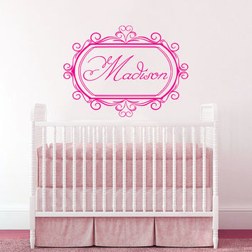 Wall Decal Name Girls Vinyl Sticker Personalized Custom Decals Art Mural Monogram Wall Decals Nursery Baby Frame Princess Name Girls AN347