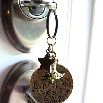 Love Beyond The Moon And Stars Keychain Bag Charm Keyring Yoga Accessories Earthy Unique Birthday Gift For Her Under 20 Item G48