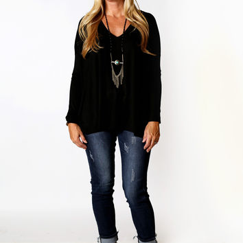 Piko V neck top - black