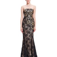 Black Mermaid Evening Dresses Lace Embroidery Dress Sexy Long Evening Gowns Mother of the Bride Dresses
