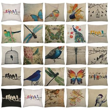 Dragonfly Birds Butterfly Pattern Pillows Covers