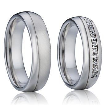 Never Fade Silver Color Wedding Band Love Rings pair for couples male and female Alliance anillos anel prata