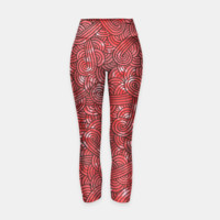 Red and black zentangles Yoga Pants, Live Heroes