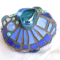 Blue Mosaic Stone Good Luck Stone by waschbear on Etsy
