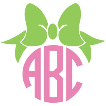 Bow Monogram Decal with Circle Font - Multiple Colors