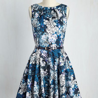 Luck Be a Lady Floral Dress in Blue Garden | Mod Retro Vintage Dresses | ModCloth.com