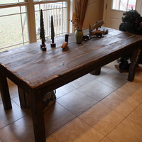 Beautiful Fishing Lake CABIN Dark Walnut Stained Primitive FARM HOUSE Country Farmhouse Kitchen Table Custom Sizes Colors Avail