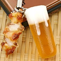 Japanese Food Sample Collection Cell Phone Strap (Beer and Yakitori)